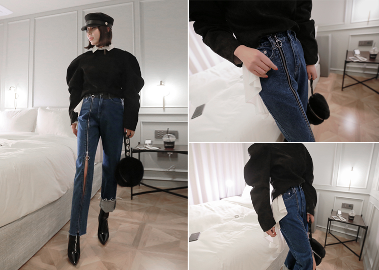 zipper denim pants