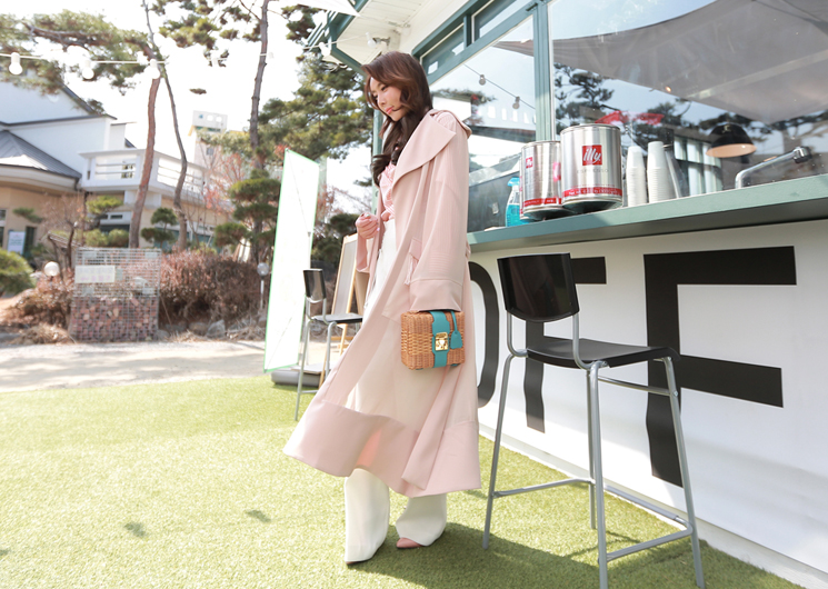 chiffon point trench coat (pink)