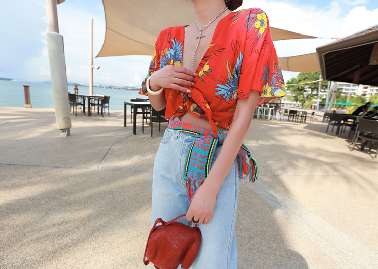 summer flower blouse (red)