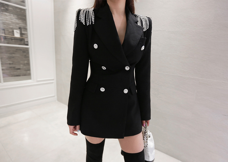 flower cubic jacket (black)