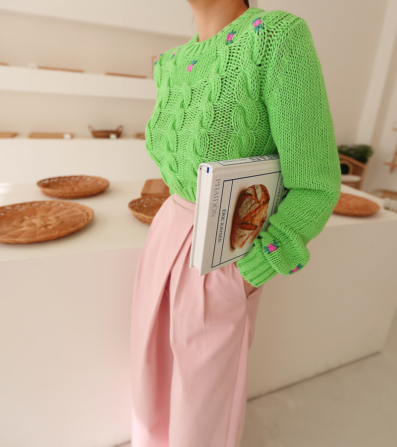 spring flower knit (green)