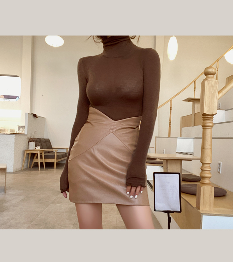 high leather skirt (brown)