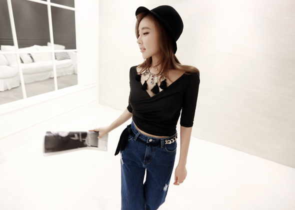 jersey shirring blouse (black)