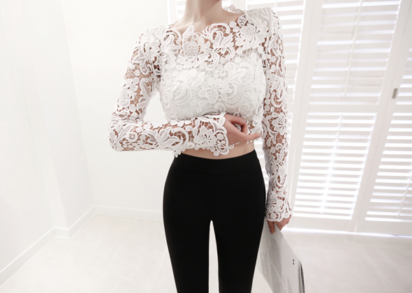 crop lace blouse