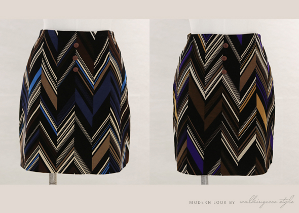 [SALE] button zigzag skirt