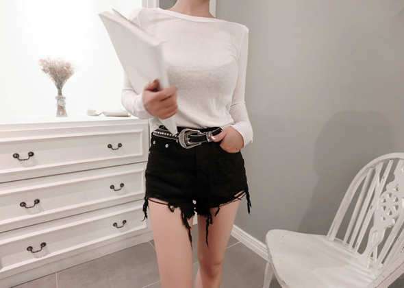 cotton half pants (black)