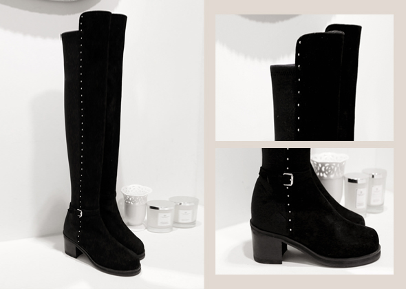 stud belt long boot
