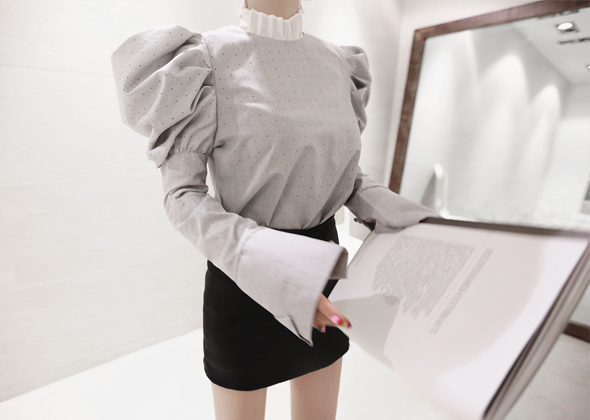 balloon sleeve blouse (gray)