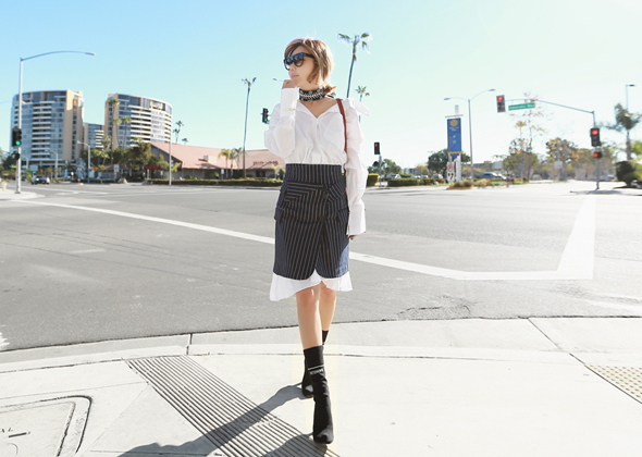 stripe collar skirt