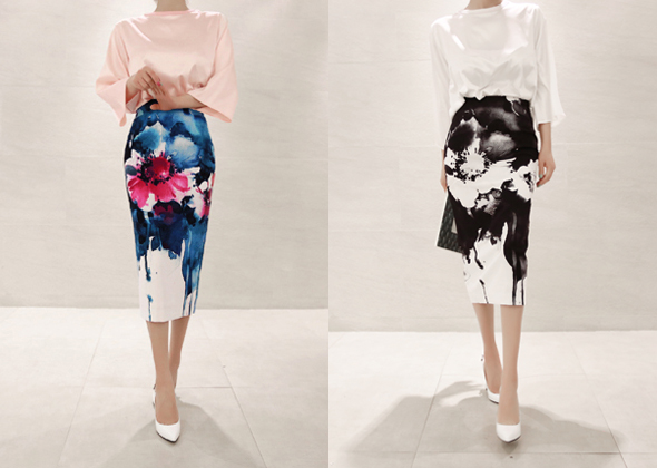 retina flower skirt 4 (black)