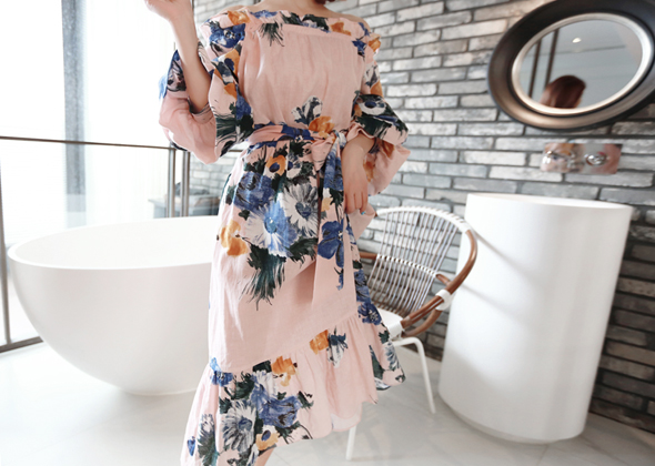 linen flower one-piece (P&B)