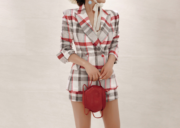 refined check jacket(red)