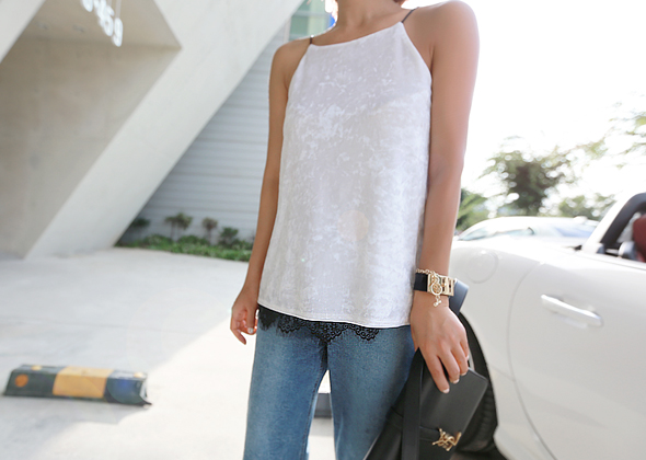 velvet lace sleeveless