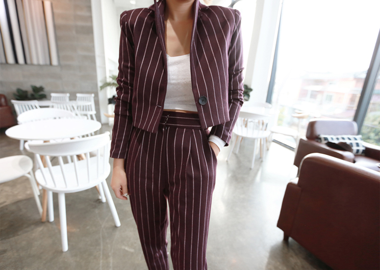 ellie stripe jacket (wine)