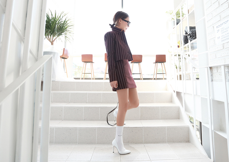 ellie stripe skirt (wine)