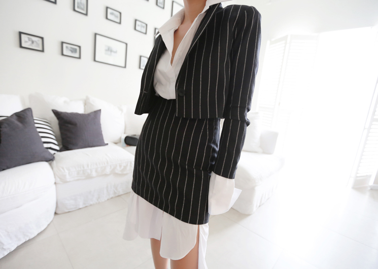 ellie stripe jacket (black)