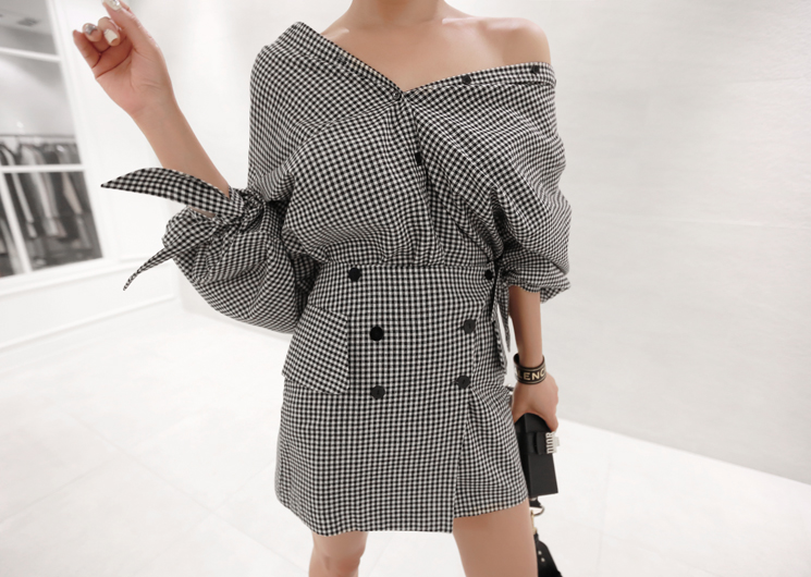 plaid check blouse (black)