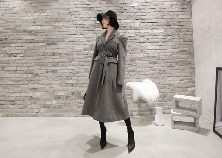 french herringbone coat (gray)