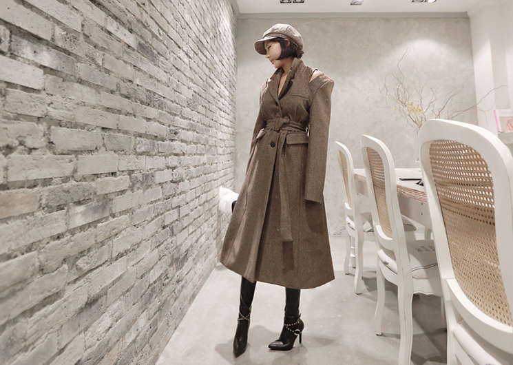 french herringbone coat (brown)