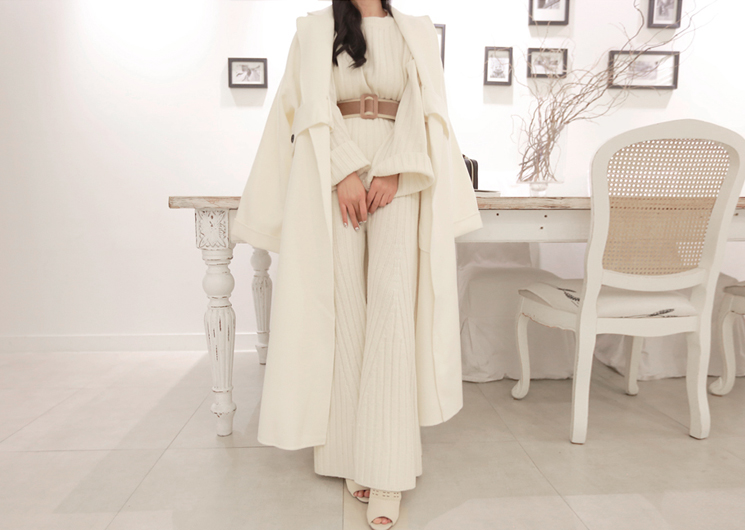 every long coat codi set  -3PS set (ivory)