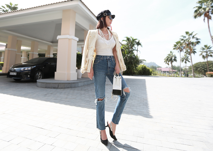 double slit denim pants