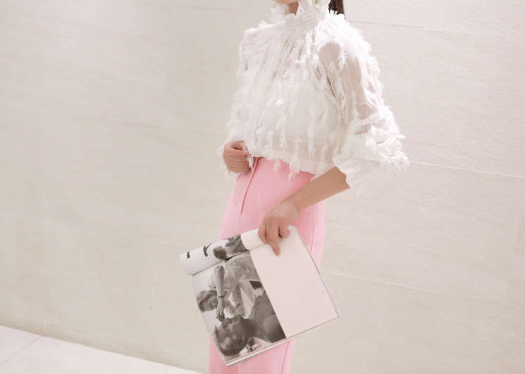 chiffon feather blouse