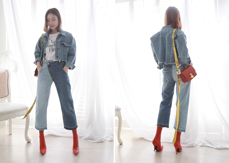 unique half denim pants