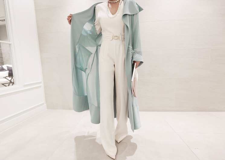 chiffon point trench coat (mint) codi set