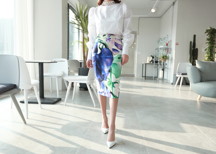 line tulip skirt (blue)