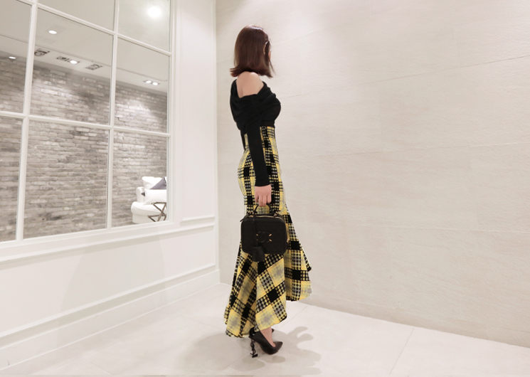 male check skirt (yellow)