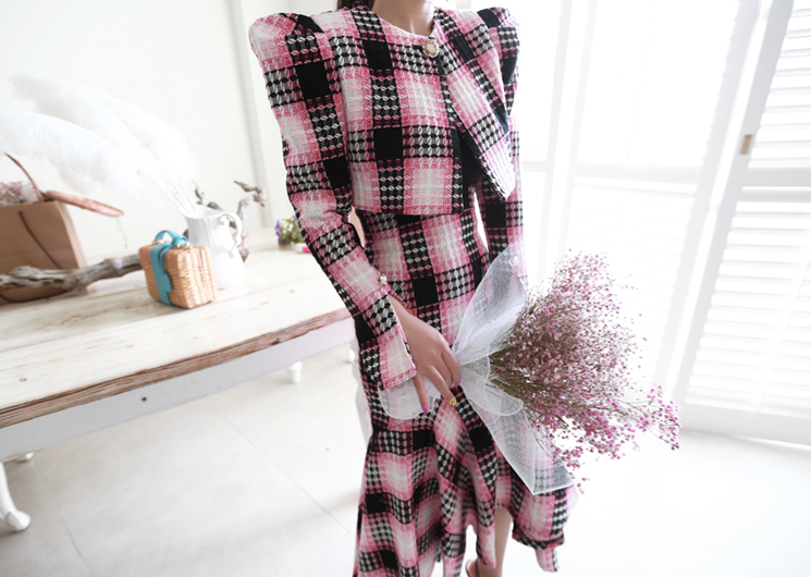male check jacket (pink)