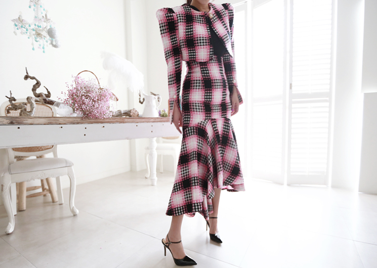 male check skirt (pink)