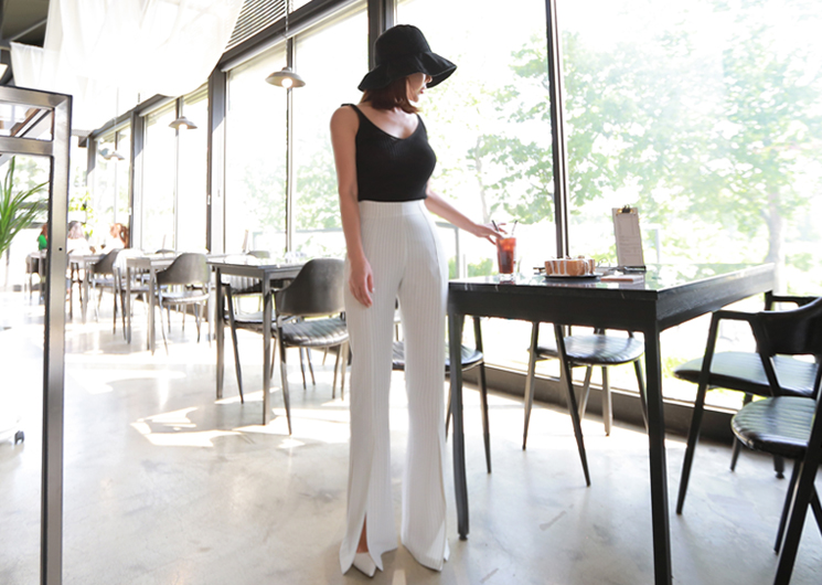 celeb stripe pants (ivory)