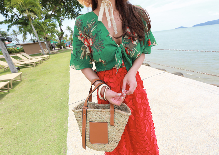 summer flower blouse (green)