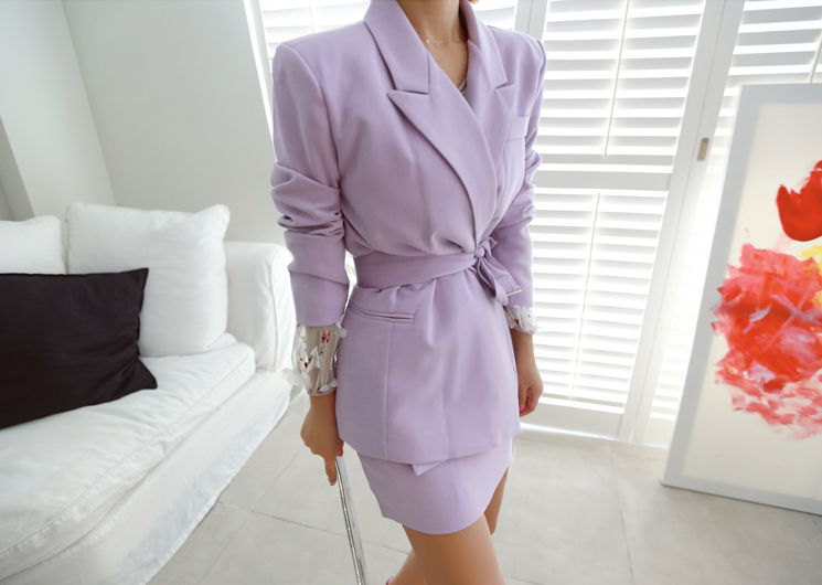isabella belt jacket (purple)