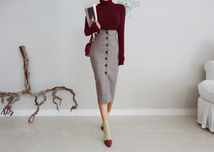 [SALE] button check skirt