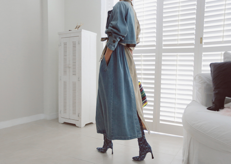half denim trench coat