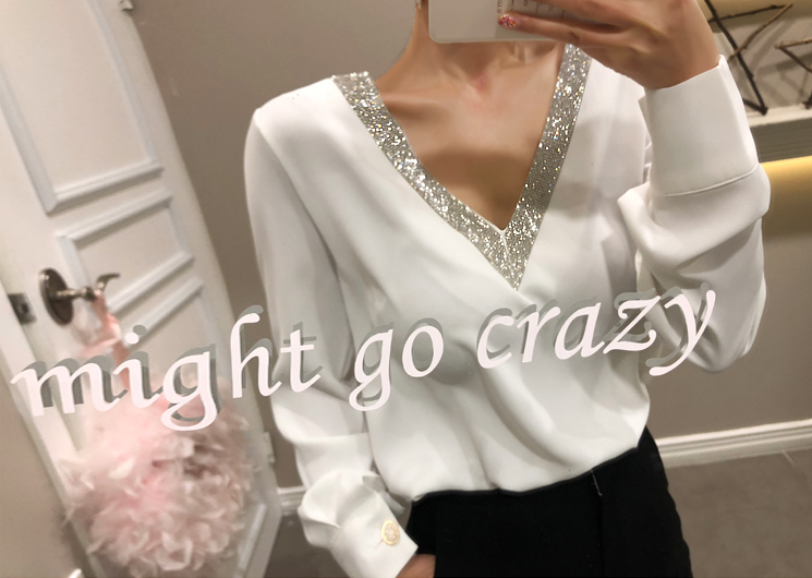 bling V blouse (ivory)