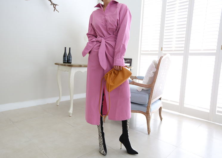 feminine long shirt one-piece