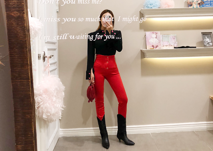 slim button pants (red)