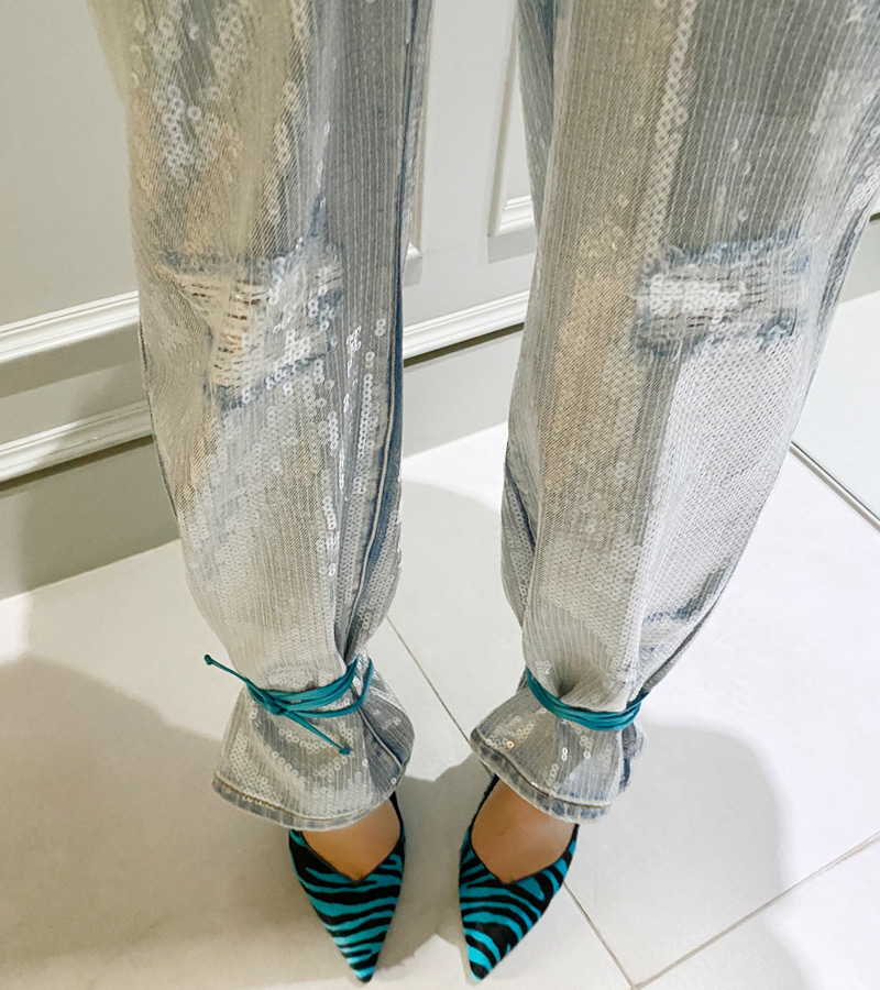 spangle denim pants
