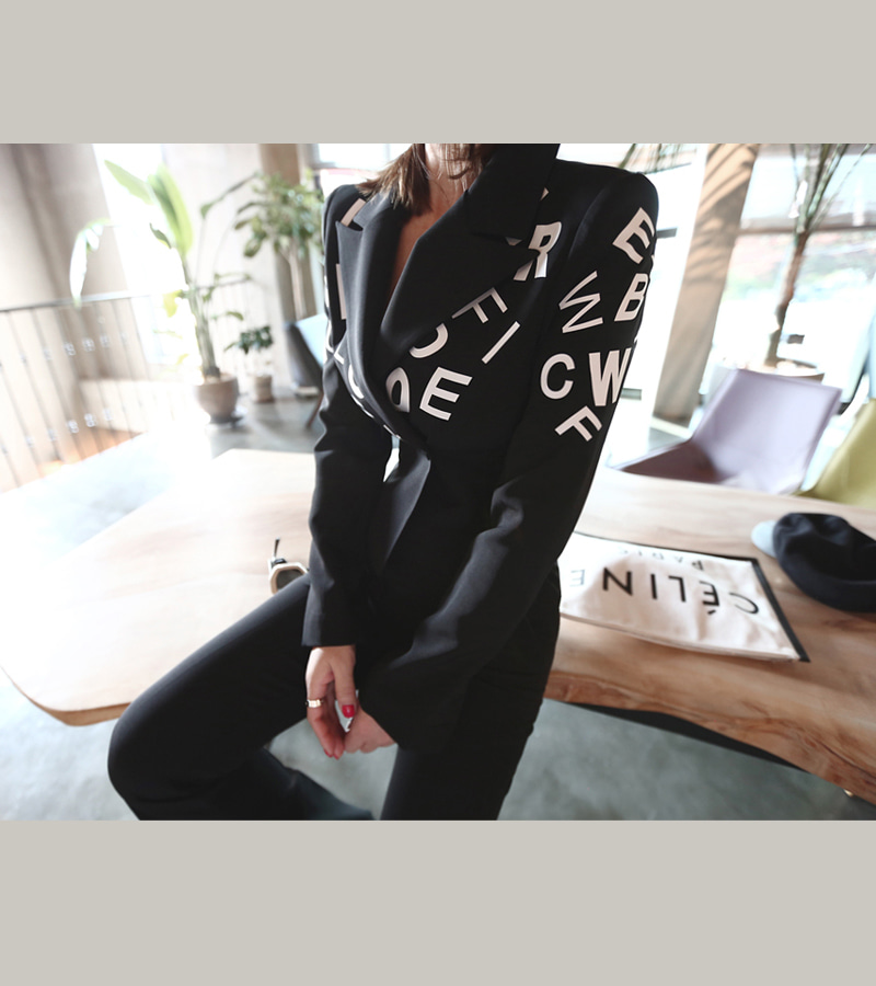 alphabet jacket (black)