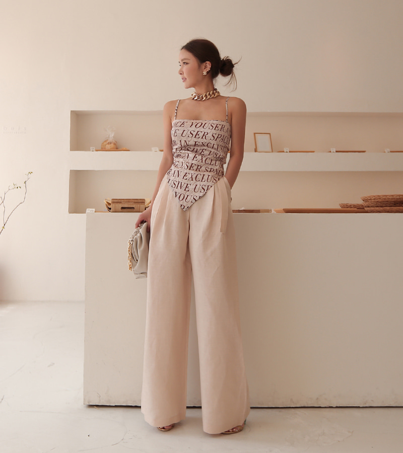 linen belt wide pants