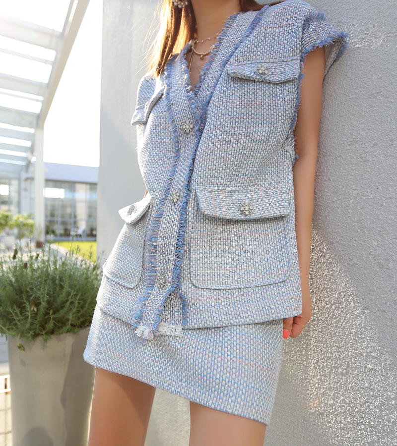 summer tweed vest
