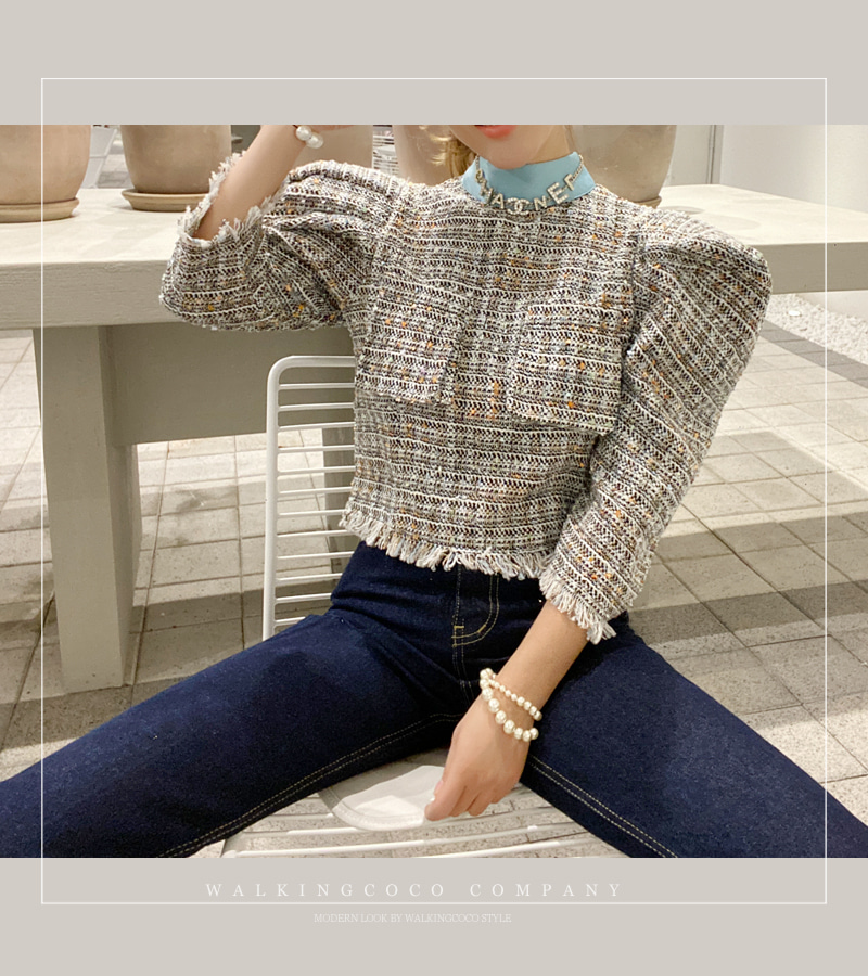 blue tweed blouse