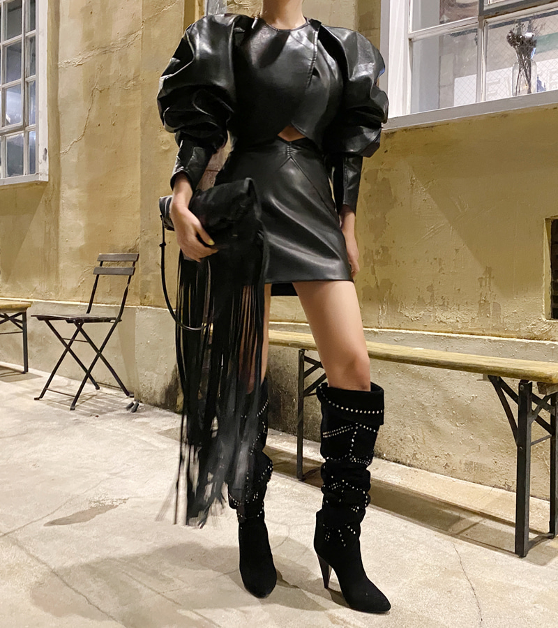 High Leather Skirt (black)