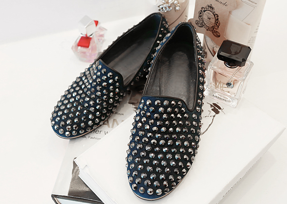 stud suede loafer