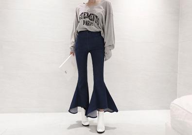 flare denim slacks (blue)